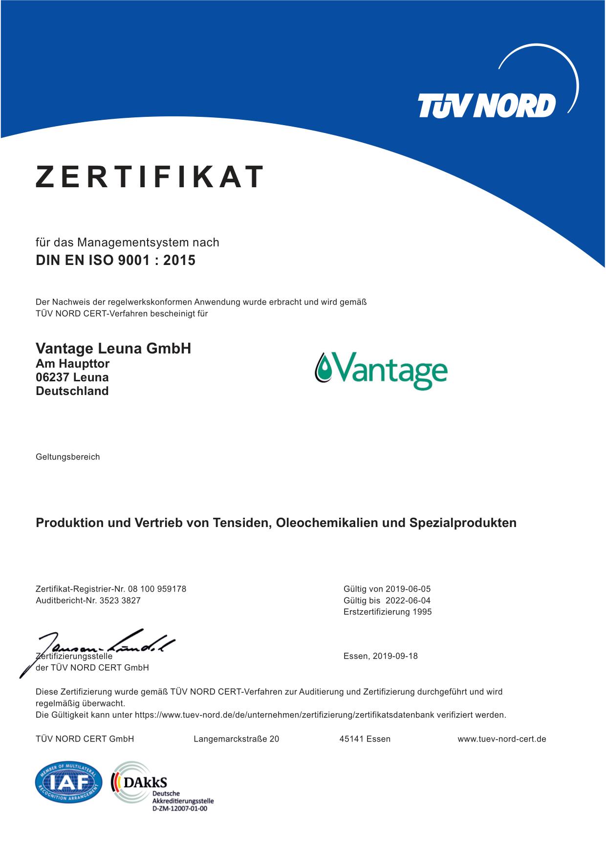959178 Vantage Leuna GmbH 9001 de